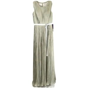 JJ House Gray Dress A-Line Maxi Chiffon Pleated 6